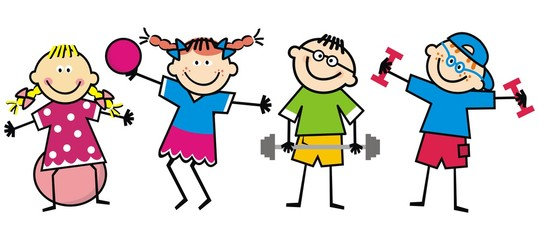 Happy kids, fitness, funny vector illustration
