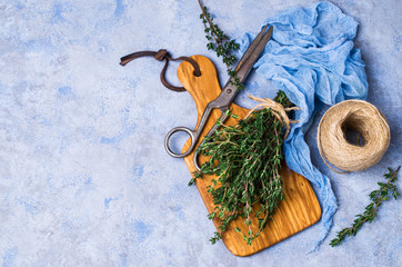 Branches of raw thyme