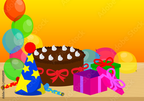 Cake gift boxes on a table balloons on the background vector cake gift boxes on a table balloons on the background vector cartoon style negle Gallery