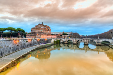 Castel Sant'angelo and bridge at sunset, Rome, Italy.