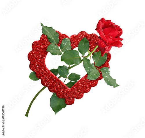 Red Rose Flower And Glitter Heart Stock Photo And Royalty Free