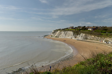 View over cliffs and sand of Dumpton Bay, Broadstairs. Kent
