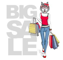 Retro Hipster animal girl wolf. Big sale hipster poster with woman model