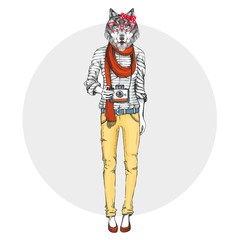 Retro Hipster animal girl wolf with photo camera. Woman model