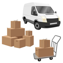 Commercial utility vehicle, luggage cart and cardboard boxes. Delivery or transportation set. Vector illustration isolated on white background