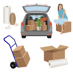 Moving day set: cardboard boxes, packing twine, stretch wrap, luggage cart. Home goods in the trunk of car. Young woman sitting on the box. Vector illustration isolated on white background