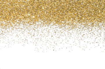 Gold border Sequins Golden shine Powder. Glitter. Shining background.