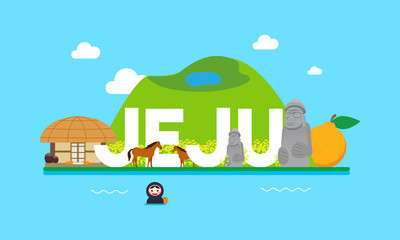 Jeju travel banner Vector illustration. Attractions in flat design on blue background.