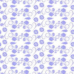 gray flowers on white background. vector seamless pattern