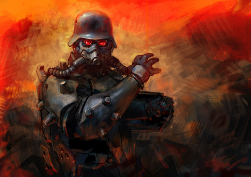 Sketch character for playing in a military armor suit. Background for a font composition on the theme of war. A warrior tank is on fire and mud.