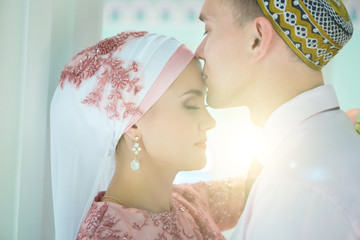 Muslim Wedding of a couple in the mosque. Nikah
