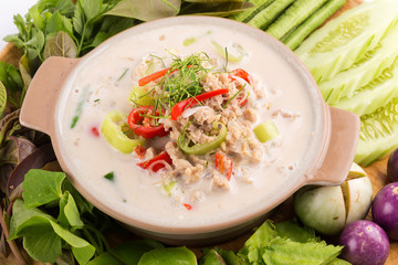 Simmer soft crab boiled in coconut milk with fresh vegetables, Thai flavors food, isolated on white background