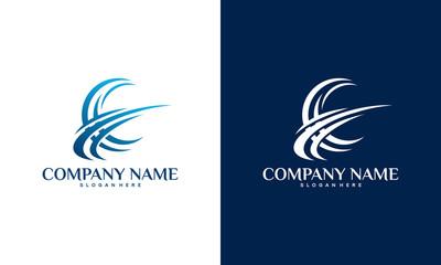 Abstract Globe logo template designs vector