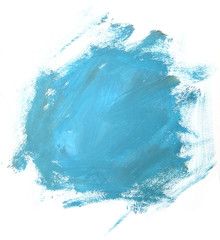 Abstract blue painting isolated on white background. Artistic brushstroke texture background. Hand painted gouache brushstroke stains.