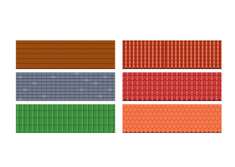 Types roof tiles, roofs for house, different colors, textures, materials.