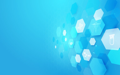 Abstract geometric shape medicine and science concept background. Medical Icons