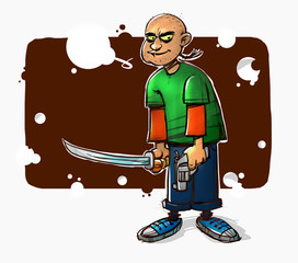 Illustration of a kid in a comic style with a gun and a sword. Image is isolated on white background. The character is a mascot. Image illustration for a book, print and wallpaper in the interior.