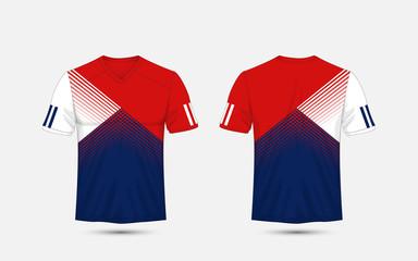 Blue, White and blue stripe pattern sport football kits, jersey, t-shirt design template