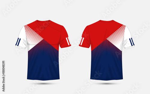 Blue, White and blue stripe pattern sport football kits, jersey, t ...