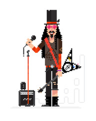 Rock star in pixel technique isolated on white background. Musician with a guitar and a microphone sings. Illustration of a musician with a hat and tattoos. Character rock singer for layout design.
