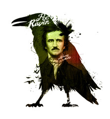 Edgar Allan Poe, drawing on isolated white background for print and web. Illustration, calligraphy for the interior. Painting graffiti on the wall. Design for a book or a collection of short stories.