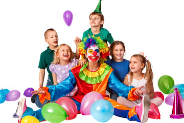 Birthday Child Clown Playing With Children And Bunny Fingers Prank Kid Celebrate Holiday Valentines Day