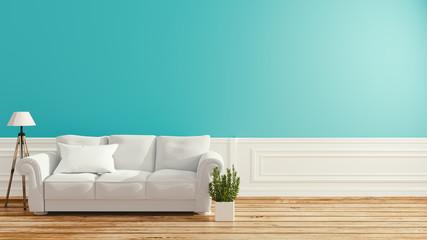 Empty interior, sofa in white room. 3d rendering