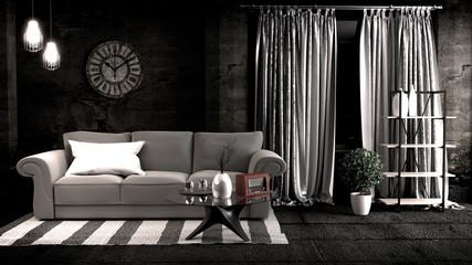 Loft style in dark room interior design. 3D rendering