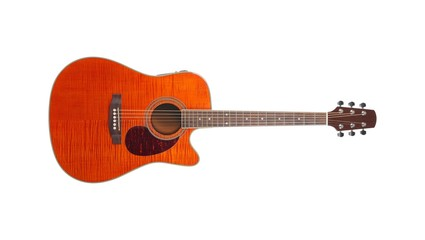Musical instrument - Orange Flame maple cutaway acoustic guitar. Isolated