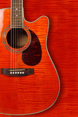 Musical instrument - Silhouette of a orange acoustic guitar