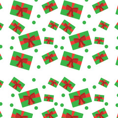 christmas gift packages bow ribbon dotted decoration seamless pattern