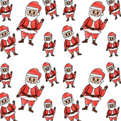 christmas seamless pattern santa claus waving hand happy