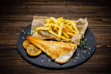 Fish dish - fried fish fillet french fries