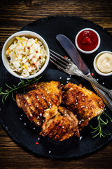 Roast chicken legs with cabbage salad