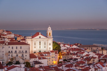 beautiful cityscape, Lisbon, the capital of Portugal at sunset. A popular destination for traveling through Europe, one of the most beautiful cities in the world