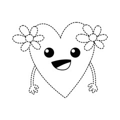 dotted shape happy heart with flowers kawaii with arms