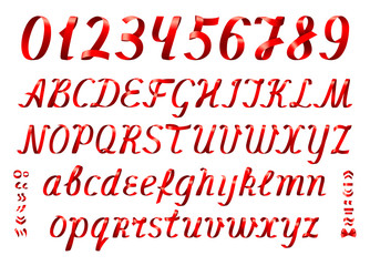 Red ribbon alphabet letters and numbers on white background.Set of uppercase and lowercase letters, diacritic marks and numbers.