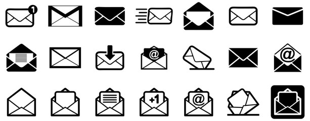 Wall Mural - Black emails vector icon pack