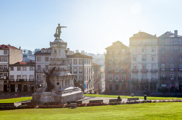 Beautiful cityscape. Square with the monument to Infante Henry in the center of old Porto, Portugal.