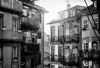 Beautiful cityscape. Street in the center of old Porto, Portugal. Black and white image