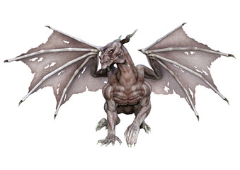 3D Rendering Fantasy Vampire Dragon on White