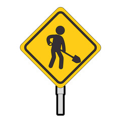 construction traffic signal with worker