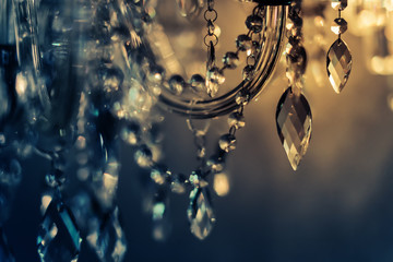 Crystal chandelier close-up. Glamour background with copy space Wall mural