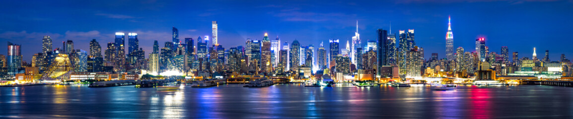 Canvas Prints New York Manhattan Skyline bei Nacht, New York City, USA