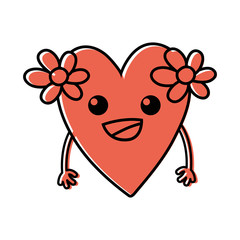 color happy heart with flowers kawaii with arms
