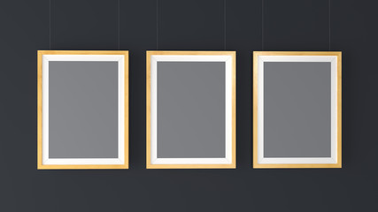 Three wooden Photo Frames Mockup. High resolution 3d render. Personal branding mockup template.