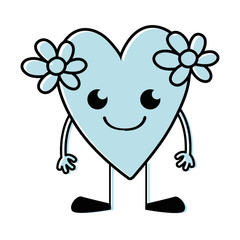 color smile heart with flowers kawaii with arms and legs