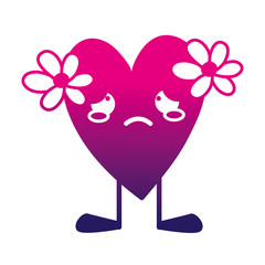 silhouette crying heart with flowers kawaii and legs