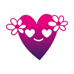 silhouette heart with flowers in love kawaii cartoon