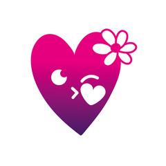 silhouette kiss heart with flowers kawaii cartoon